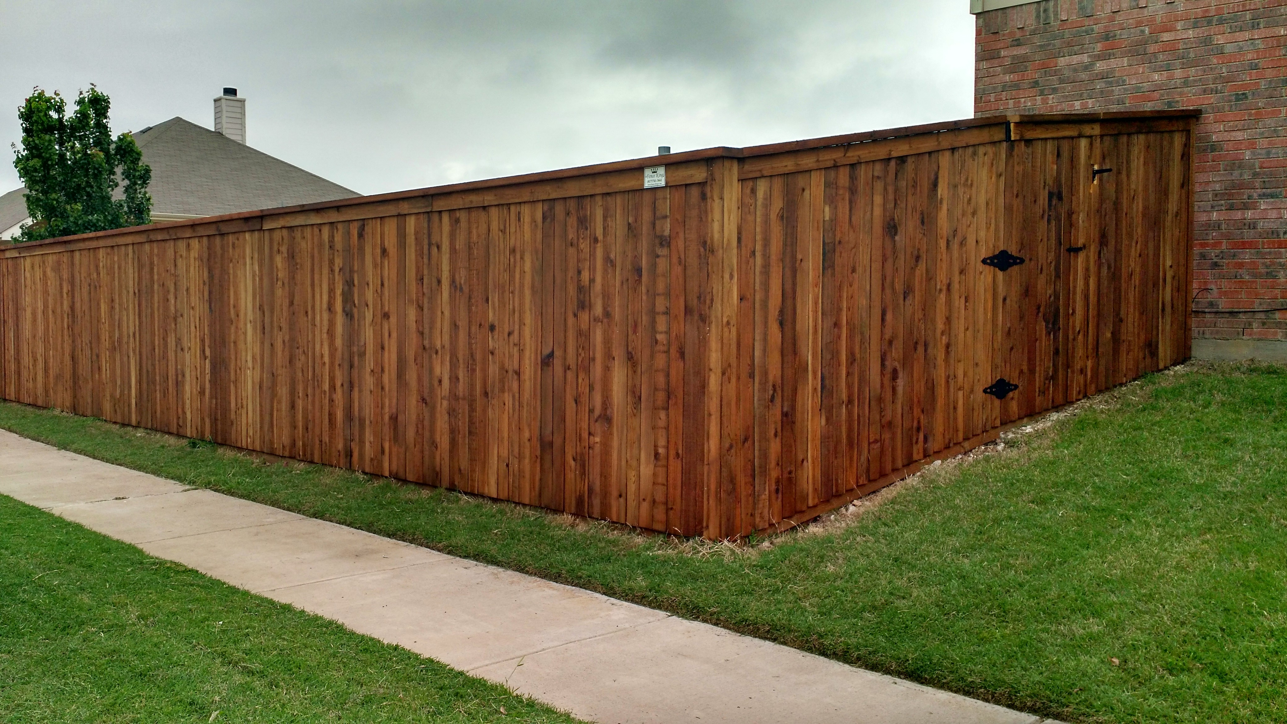 New fences fence king 6 foot tall 4 wide cedar pickets side by side style flat top with cap and rot board pre stained pecan baanklon Images